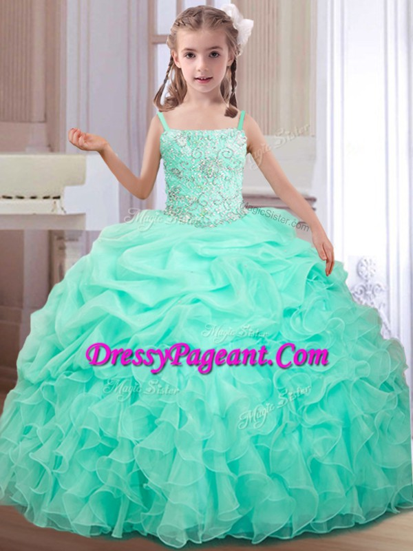 150dfe93fe1 Enchanting Apple Green Ball Gowns Organza Straps Sleeveless Beading and  Ruffles and Pick Ups Floor Length Lace Up Little Girl Pageant Dress