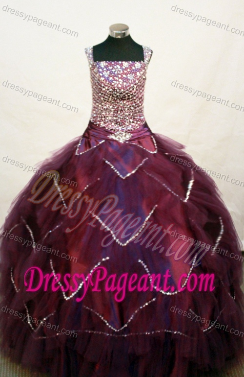 Ornate Square Neckline Little Girl Pageant Dress with Beading in Burgundy