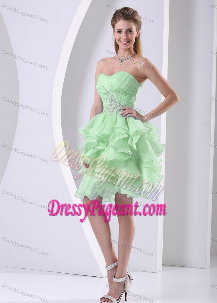 Green Sweetheart Ruched and Beaded Pageant Dress with Ruffles for Cheap