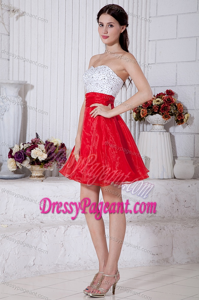 White and Red Organza Strapless Mini-length Pageant Dress for Girl with Beading