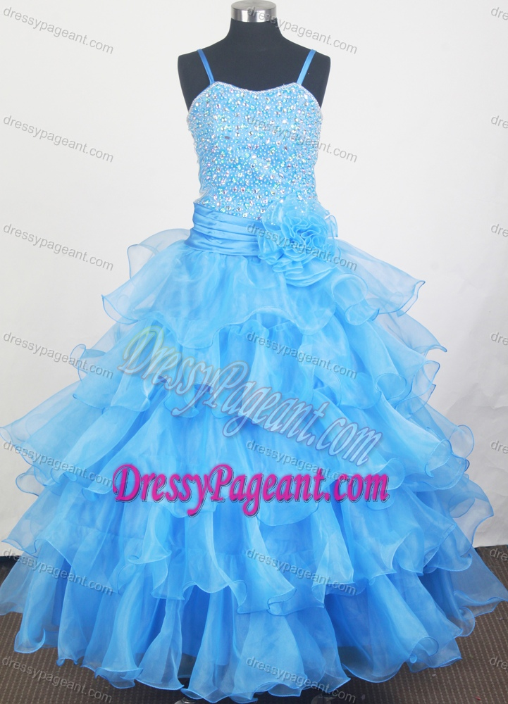 Aqua Blue Glitz Little Girl Pageant Dress with Beads Decorate Bodice
