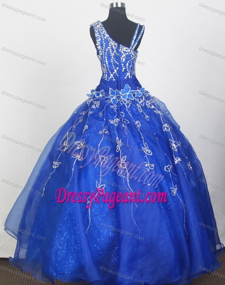 Gorgeous Asymmetrical Dark Blue Organza Glitz Pageant Dress with Flowers