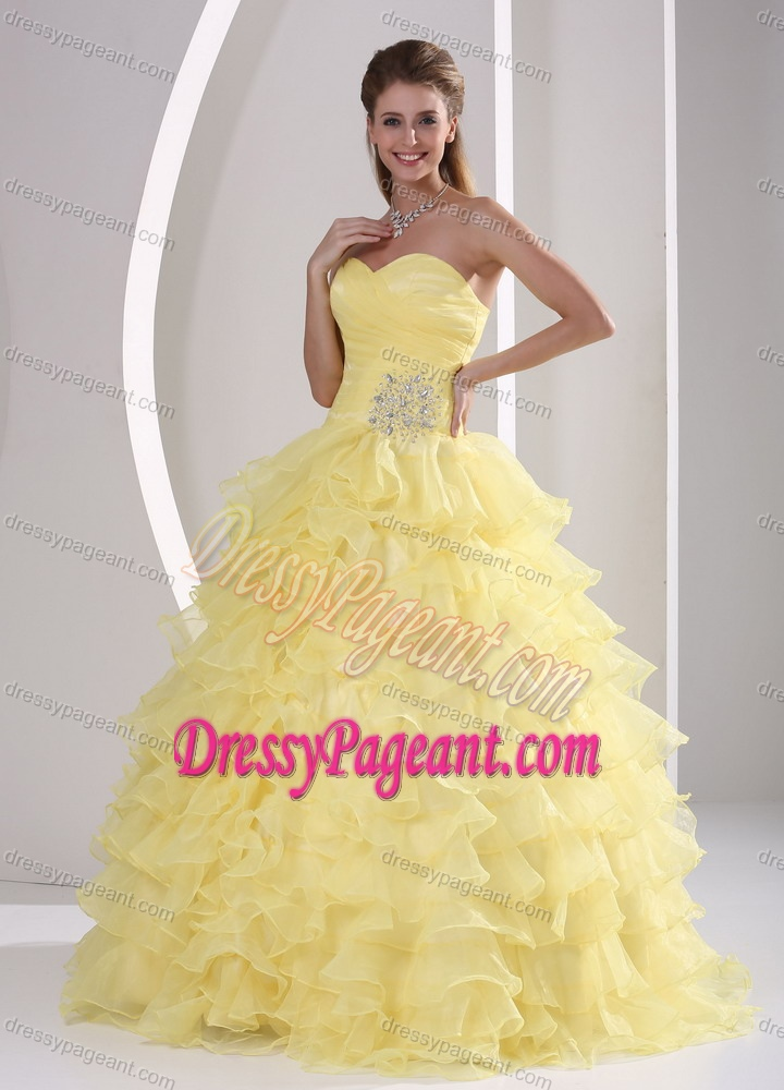 Light Yellow Sweetheart Organza Hot Seller Pageant Dress with Ruffled Layers