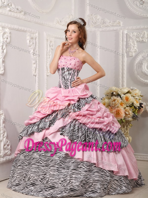 Romantic Beaded Strapless Pink Pageant Dresses for Girls in Taffeta and Zara
