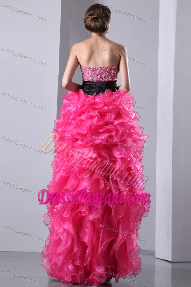 A-line Sweetheart High-low Organza Pageant Dresses with Beading and Ruffles