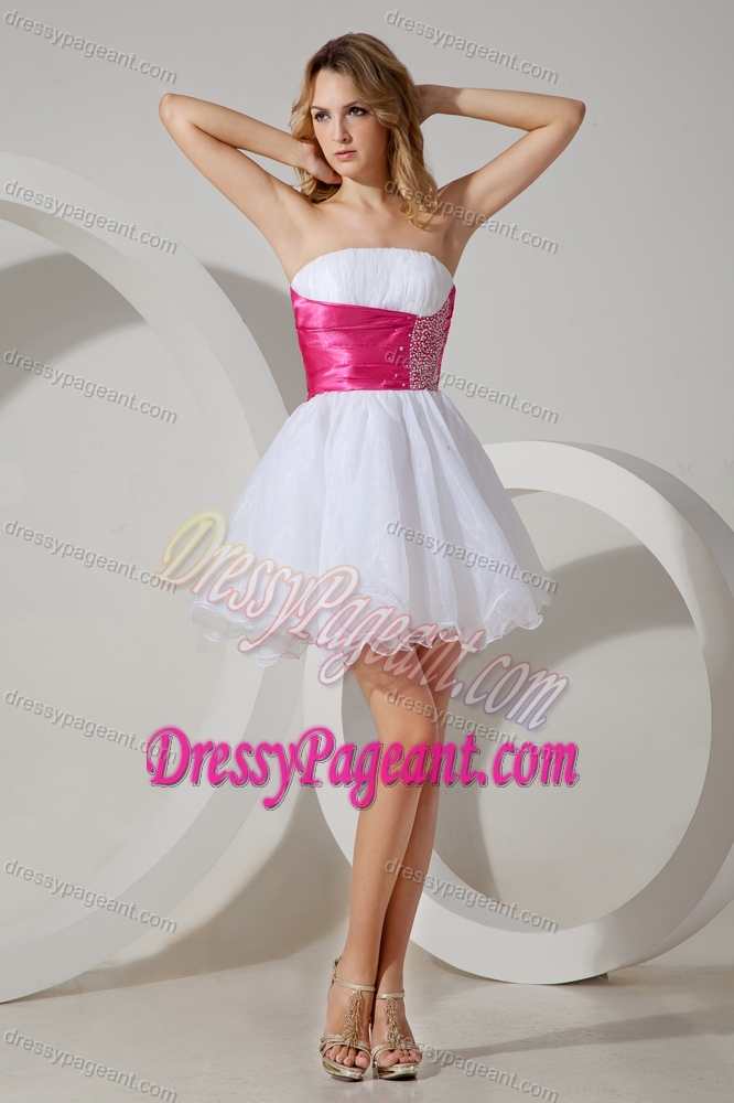 White A-line Strapless Prom Dress for Pageant with Beading Made in Organza