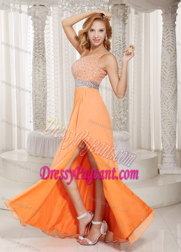 Orange One Shoulder Floor-length Chiffon Pageant Dresses with Beading and Slit