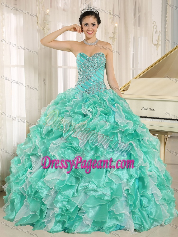 Apple Green Beauty Pageant Dress with Beaded Bodice and Ruffles