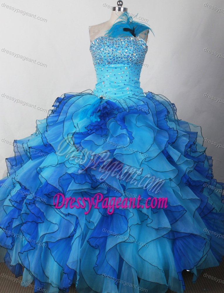 Perfect Little Girl 2014 Pageant Dress with Beading and Feather on Wholesale Price