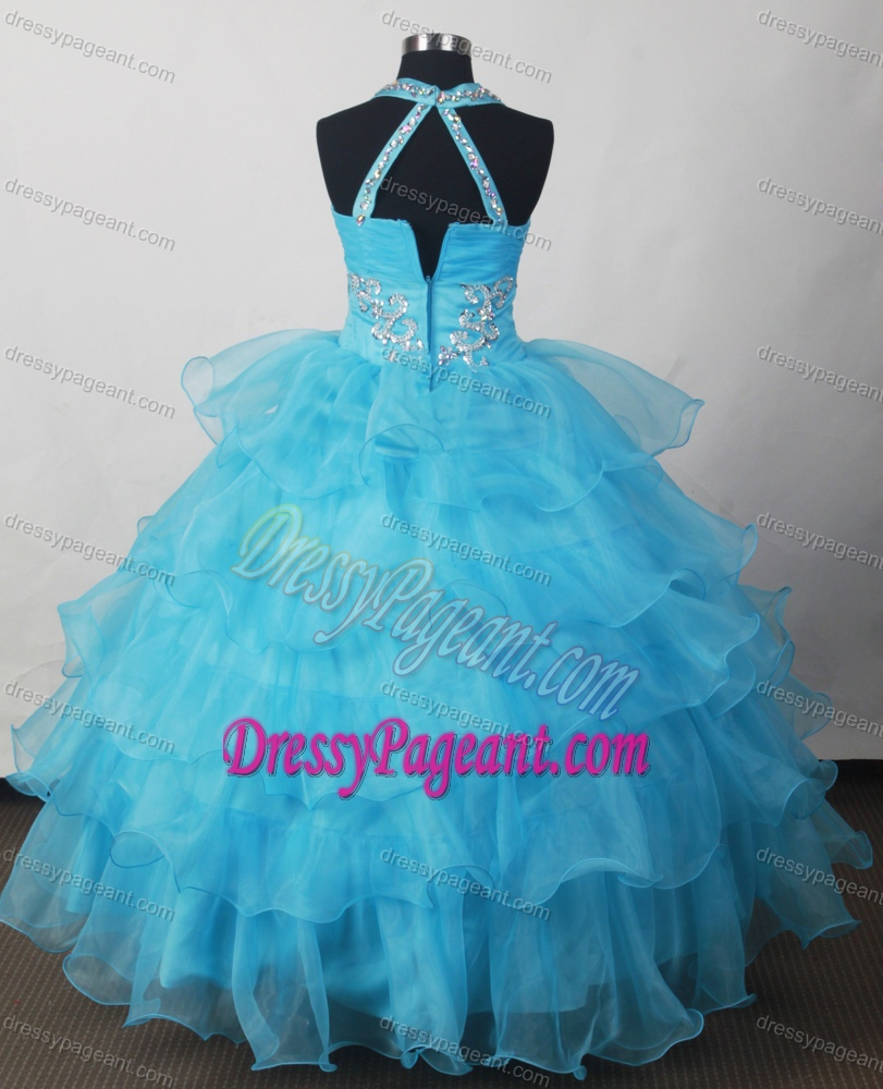 New Halter Top Lovely Little Girl Pageant Dresses with Beading and Ruffled Layers
