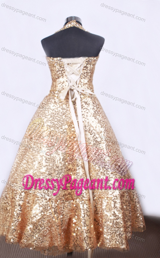 Elegant A-line Halter Top Pageant Dresses for Little Girl in Gold with Sequin