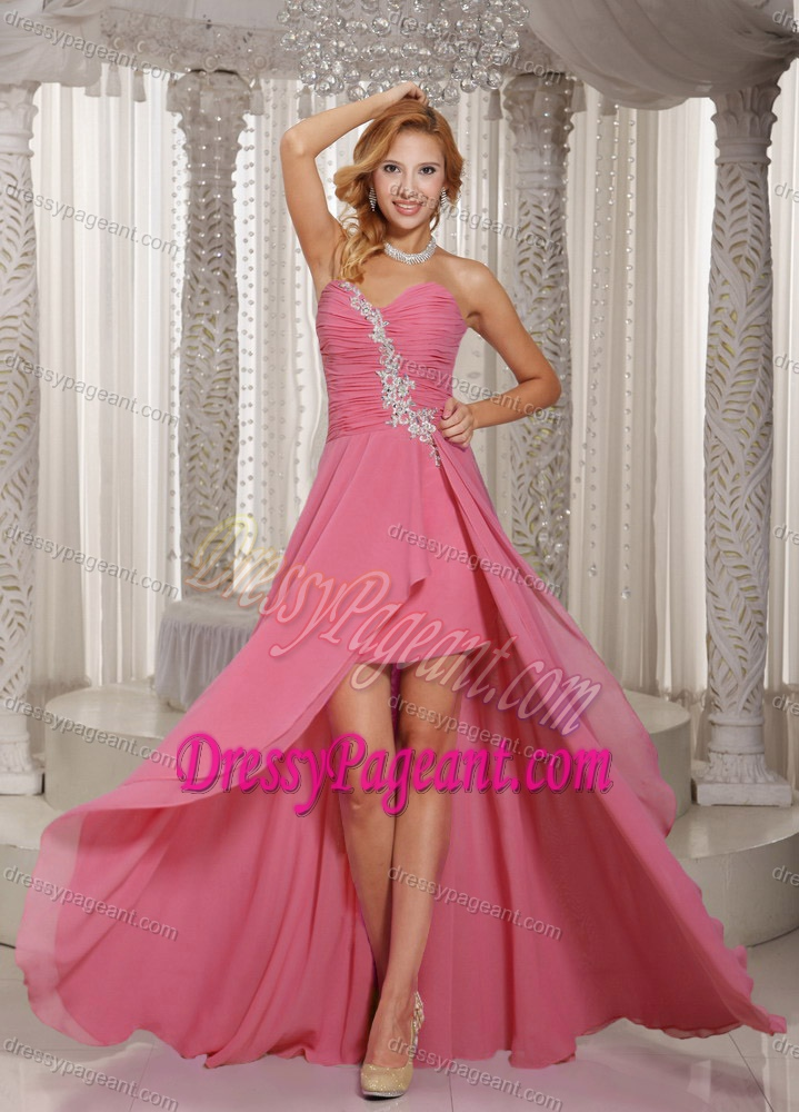 High-low Rose Pink Sweetheart Pageant Dress with Appliques and Ruche
