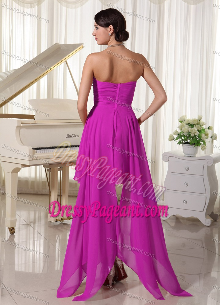 Pretty Fuchsia Strapless High-low Pageant Dress with Beading and Ruche