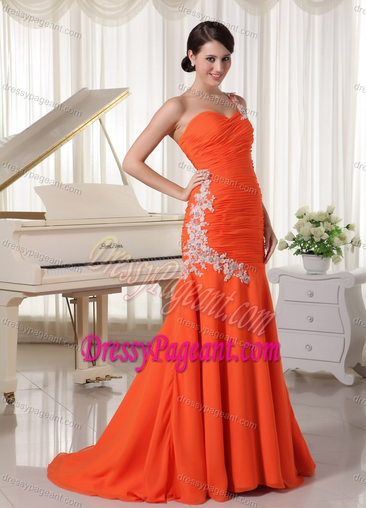 One Shoulder Chiffon Orange Red Prom Pageant Dresses with Appliques