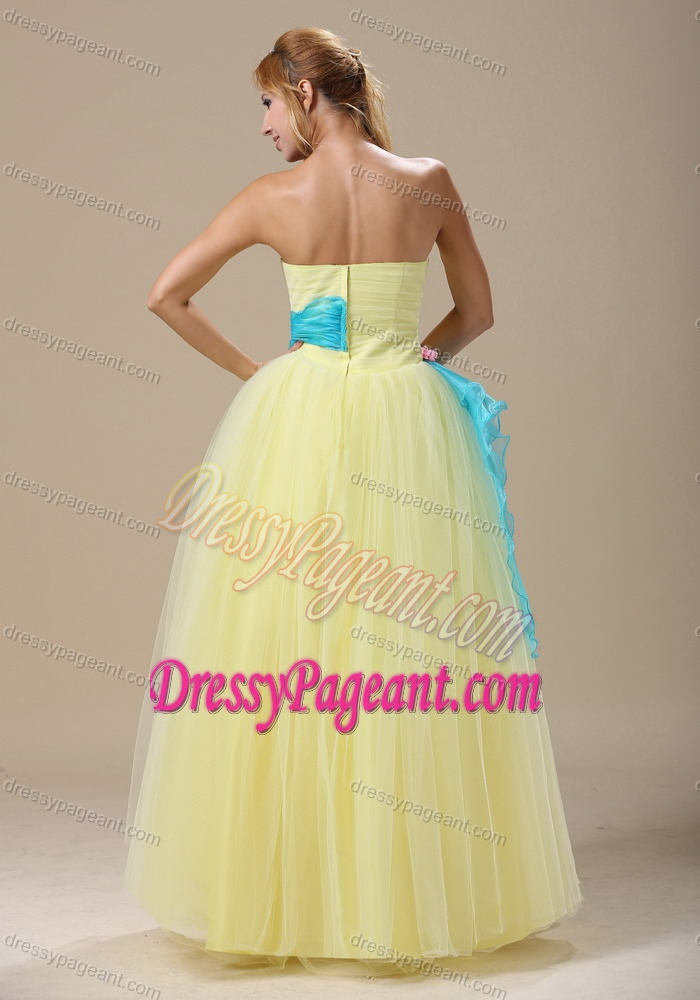 Light Yellow Appliqued and Ruched Miss Universe Pageant Dress with Sash