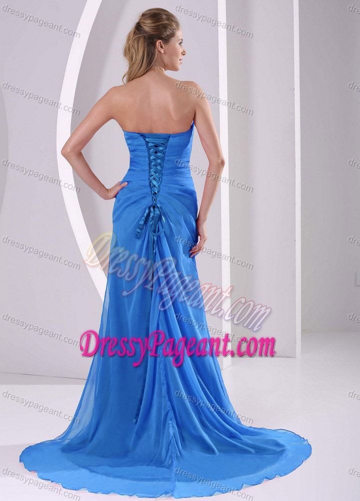 Nice Aqua Blue Sweetheart Natural Beauty Pageants Dresses with High Slit