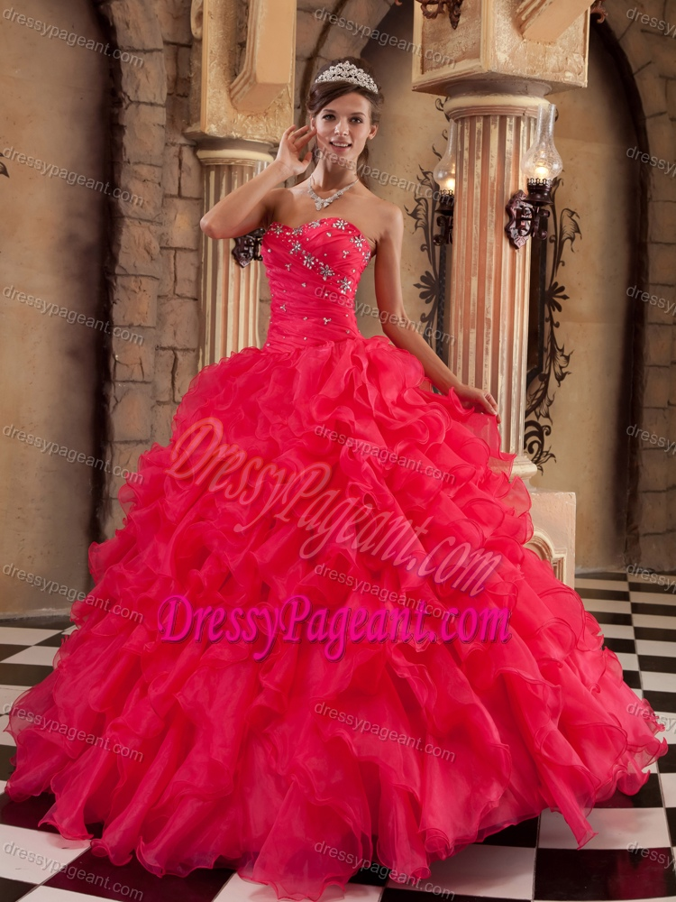 Coral Red Ball Gown Sweetheart Pageant Dress with Ruffles and Beading