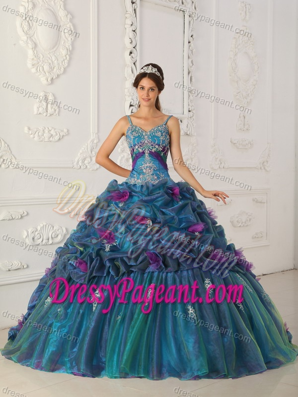 Straps Chapel Train Beautiful Pageant Dress in Organza with Embroidery