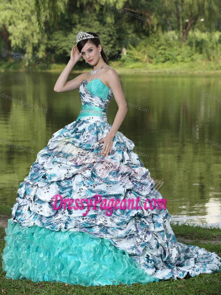 Sweetheart Ball Gown Aqua and Printed Pageant Dress with Ruffles and Pick-ups