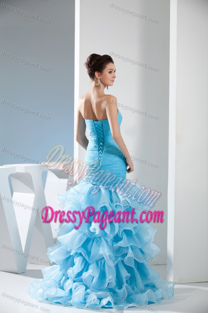 Baby Blue Sweetheart Ruched Organza Pageant Dresses with Ruffles and Beading