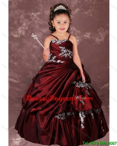 Ball Gown Ruching Strapless Appliques and Ruching Beautiful Little Girl Pageant Dress