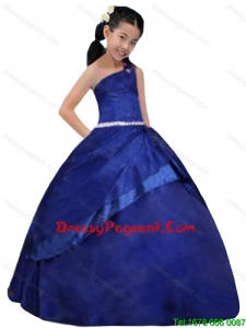 One Shoulder Ball Gown Ruching One Shoulder Beautiful Little Girl Pageant Dress
