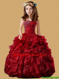 Wine Red Beautiful Little Girl Pageant Dress with Beading and Ruffled Layers