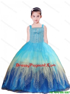 2015 Cute Blue Ball Gown Beading and Ruching Little Girl Pageant Dress