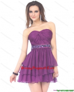 2015 Luxurious Sweetheart Mini Length Prom Dress with Sequins and Ruching