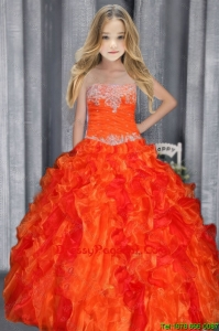 Cute Ball Gown Strapless Appliques Orange Red Little Girl Pageant Dress with Ruffles