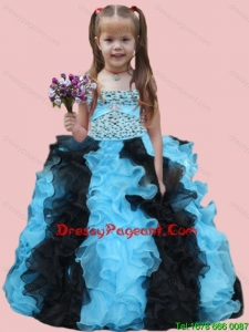 Cute Ball Gown Strapless Beading Ruffles and Beading Muti-color Little Girl Dress