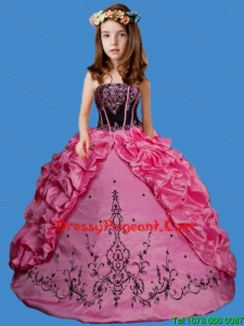 Cute Rose Pink Strapless Embroisery and Pick-ups Little Girl Pageant Dress