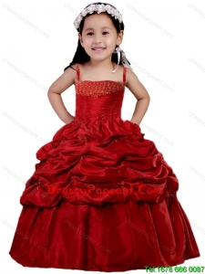 Cute Wine Red Pick-ups Straps Beading and Ruching Little Girl Dresses