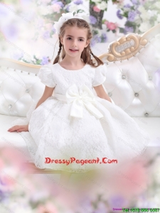 Elegant Lace 2015 White Beautiful Little Girl Dress with Short Sleeves and Bowknot