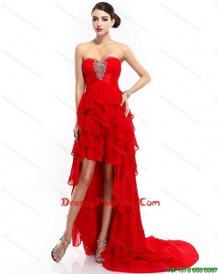 Luxurious Ruffled Layers Beading Red Pageant Dresse for 2015