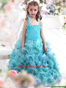 Straps Appliques and Ruffled Layers Pageant Beautiful Little Girl Dresses in Aque Blue