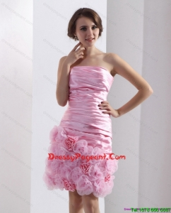 2015 Lovely Strapless Ruching Mini Length Sexy Pageant Dress in Baby Pink