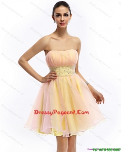 2015 Sexy Strapless Multi Color Prom Dress with Beading and Ruching