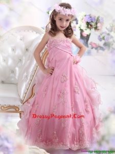 2015 Unique Rose Pink Spaghetti Straps Flower Girl Dress with Appliques