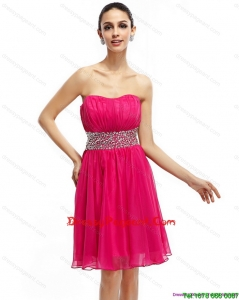 Coral Red Strapless Short Sexy Pageant Dresses with Ruching and Rhinestones