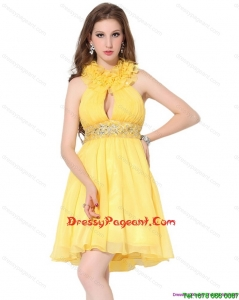Halter Top Ruffled Beautiful Pageant Dresses with Beading