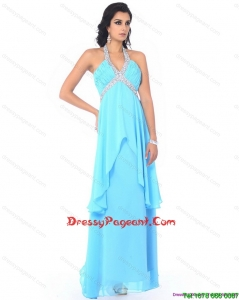 Perfect Halter Top Long Simple Pageant Dresses with Beading and Ruffles
