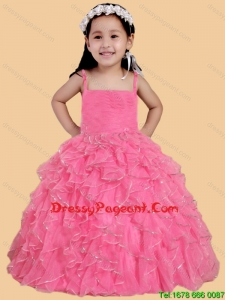 Rose Pink Ball Gown Spaghetti Straps Flower Girl Pageant Dress