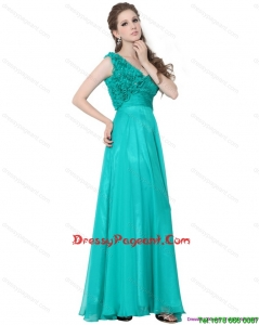 Turquoise One Shoulder Simple Pageant Dresses with Ruching and Hand Made Flower