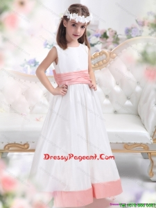 White Scoop 2015 Flower Girl Dress with Pink Waistband