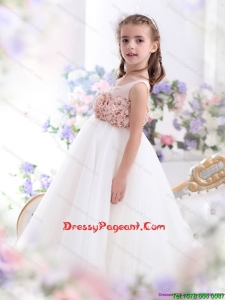 2015 Cheap Scoop Flower Girl Dress with Hand Made Flowers
