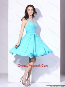Perfect Beading and Ruching 2015 Prom Dress in Aqua Blue