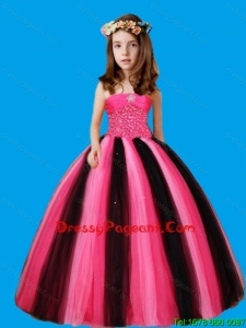 Strapless Ball Gown Beaded Decorate Waist Lovely Girl Pageant Dress