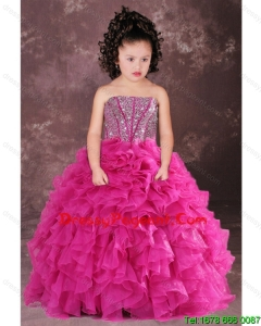 Sweet Hot Pink Strapless Beading Ruffles Little Girl Pageant Dress