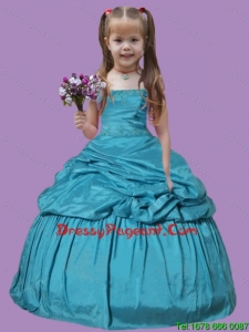 Teal Blue Pick-ups Appliques Taffeta Little Girl Pageant Dress with Strapless Ball Gown